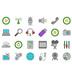Multimedia icons set vector