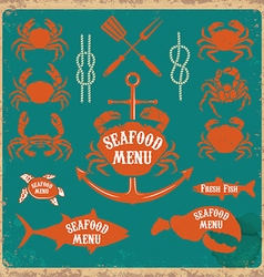 Seafood menu labels set vector