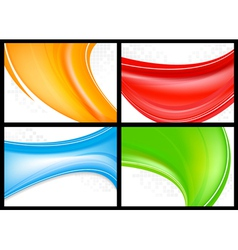 Wave business cards vector image