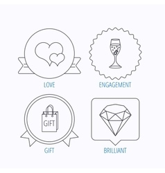 Love heart gift box and wedding ring icons vector