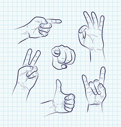 Set of various hand gestures vector image