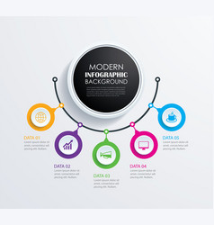 abstract 5 circle infographics number options vector image vector image