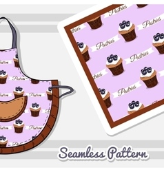 Apron With Blueberry Cupcakes vector image vector image