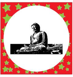 black 8-bit the great buddha in kamakura japan vector image vector image