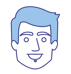 Blue silhouette of man with short hair vector