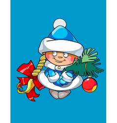 Cartoon funny girl snow maiden holding a fir vector