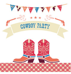 cowboy party western card symbols with cowboy vector image