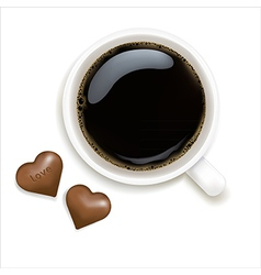 Cup of coffee with chocolate vector