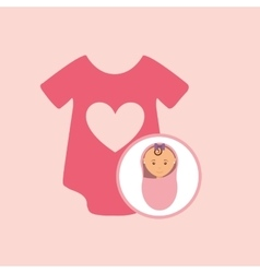 Cute newborn girl on pink blanket and onesie vector