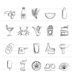 different king of food and drinks icons 3 vector image