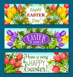Easter greetings banner set with flowers and eggs vector