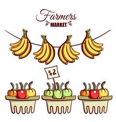 farmers market bananas vegetables vector image