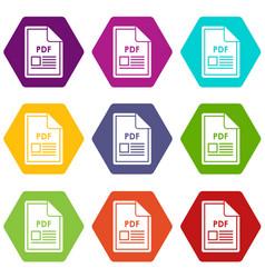 file pdf icon set color hexahedron vector image