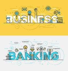 Flat design line concept banner Business and vector image vector image
