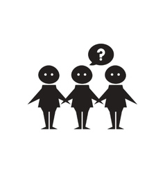 Flat icon in black and white group people vector image vector image