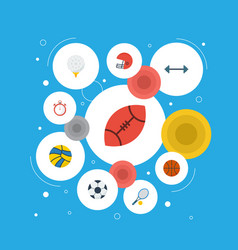 flat icons kettlebells basket rugby and other vector image