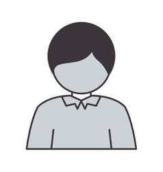 Half body silhouette guy with t-shirt vector