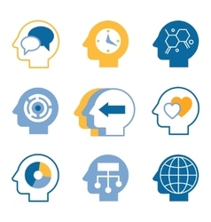 Head brain icons vector