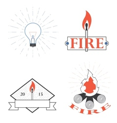 logos depicting fire and light vector image