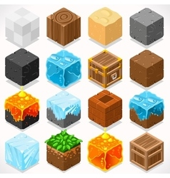 Mine cubes 03 elements isometric vector