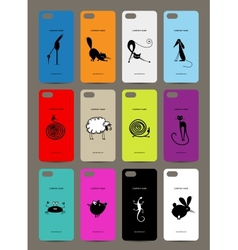 Mobile phone cover back 12 funny animals for your vector