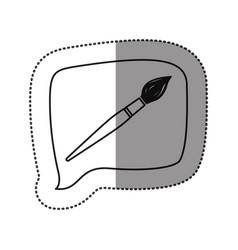 monochrome contour sticker with brush icon in vector image