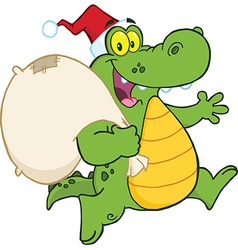 Royalty free rf clipart crocodile santa cartoon vector