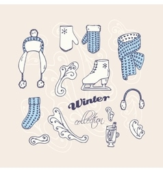 Set of hand drawn winter accessories Frosty vector image