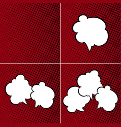 Set of speech bubbles on red background vector