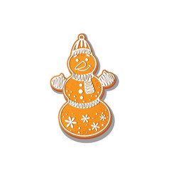 Snowman cookie isolated vector