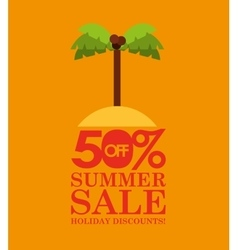 Summer sale 50 discounts with palm island vector