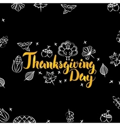 Thanksgiving Day Black Gold Postcard vector image