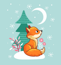 The fox sits in a snowy glade near the tree vector