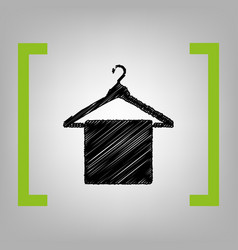 Towel on hanger sign black scribble icon vector