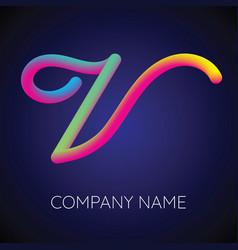 V letter logo icon blending color vector