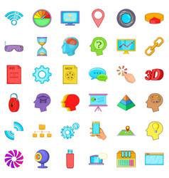 Web information icons set cartoon style vector