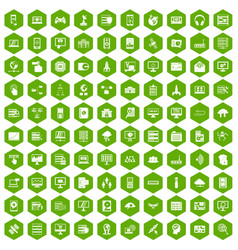 100 database and cloud icons hexagon green vector