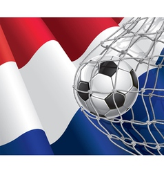 Soccer goal and Netherlands flag vector image