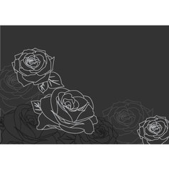 Background with silhouettes of roses vector