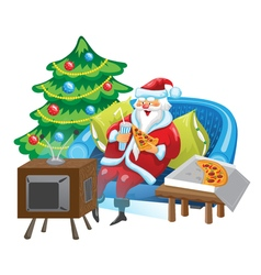 Santa and tv vector