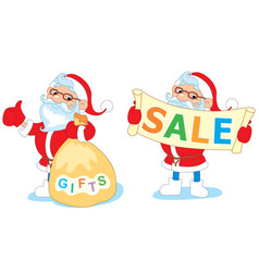 santa sitting on a swing with mistletoe and rolls vector image