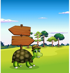 A turtle near the empty wooden arrow signboards vector image