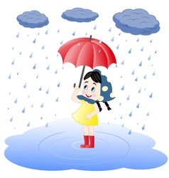 Girl under an umbrella and rain vector