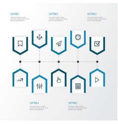 Interface outline icons set collection of trend vector