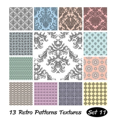 13 retro patterns textures set 11 vector