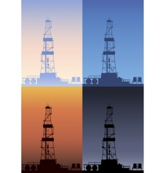 Oil rig at different times of the day detailed vector