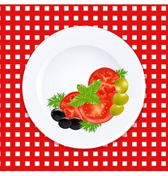 White plate with tomatoes olives and fresh herbs vector