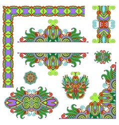 Set of paisley floral design elements for page vector