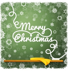 Merry christmas message written on the green vector