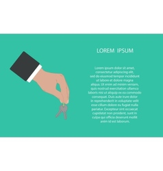 Businessman hand holding and giving keys vector image